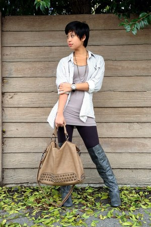 gray knee high boots Madden Girl boots - beige studded bag Poshmark bag