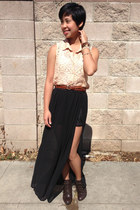 peach lace Forever 21 top - dark brown ankle booties Forever 21 boots
