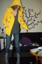 gold Body Central coat - blue copelli boots - blue Forever 21 jeans - gray lol v