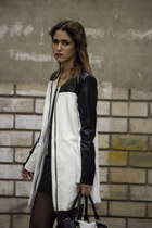 black leather dress - white new york coat - black Sybilla heels