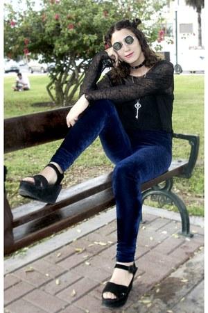 navy velvet leggings - black gothic lace blouse