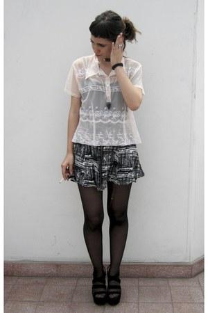 sheer blouse - skater skirt