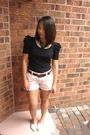 Pink-old-navy-shorts-white-moms-shoes-black-forever-21-dress-brown-dads-be