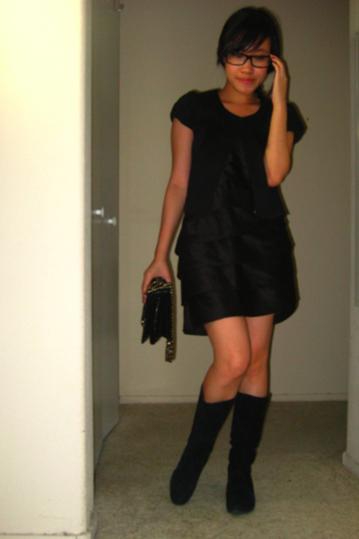 Wet Seal capelet top - Steve Madden boots shoes - Adrianna Papell dress