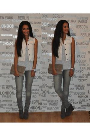 Zara vest - H&M bag - Monki top
