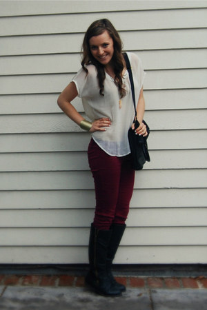Wet Seal pants - black Target boots - black H&M bag - chiffon Forever 21 top