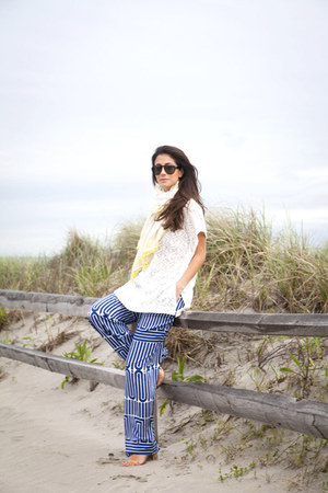 Joe Fresh sunglasses - Anthropologie scarf - Joe Fresh top - Trina Turk pants