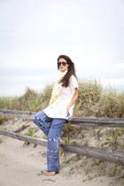 Joe Fresh sunglasses - Anthropologie scarf - Joe Fresh top - Trina Turk pants