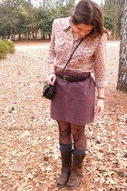 dark brown leather carrol original wear boots - Lucky Brand shirt