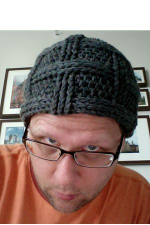gray homemade hat