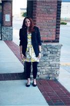 black blazer - black leggings - white dress - black shoes