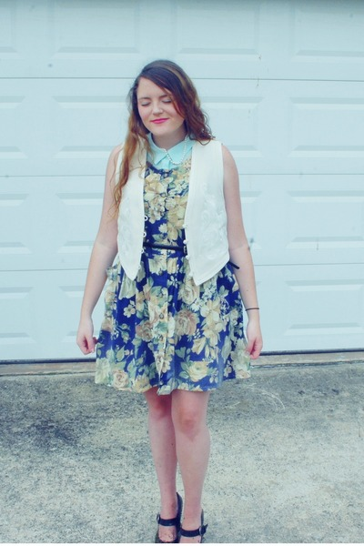Goodwill dress - Chinese Laundry shoes - H&M top - thrifted vintage vest