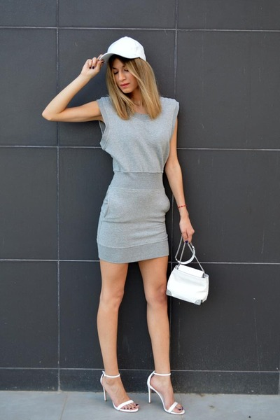 white Zara bag - grey gestuz dress - white leather Ebay hat