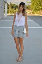 silver Zara flats - chicnova skirt - Zara blouse