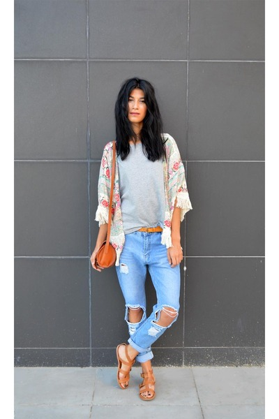 kimono choiescom cardigan - ripped choiescom jeans - barrel Zara bag