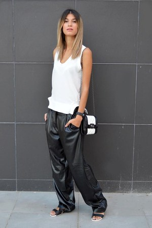 black and white choiescom bag - leather Nowhere pants