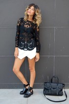 Sheinsidecom blouse - cut out Aldo boots - black Zara bag