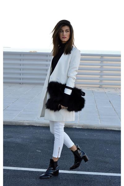 patent leather Zara boots - white Sheinsidecom coat - high neck Zara top