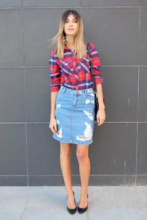 black Zara heels - tartan plaid AHAISHOPPING shirt - Marc by Marc Jacobs bag