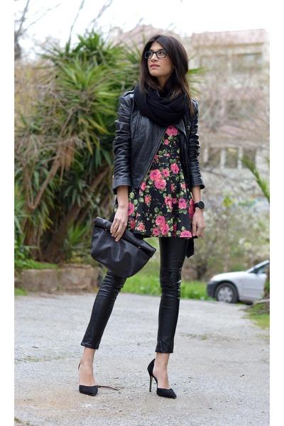 leather gestuz jacket - floral dress AX Paris dress - leather River Island pants