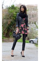 leather gestuz jacket - floral dress AX Paris dress - leather River Island pants