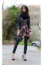 Floral-dress-ax-paris-dress-leather-gestuz-jacket-leather-river-island-pants