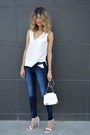 Blue-bershka-jeans-white-zara-bag