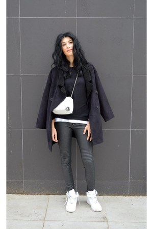shearling Sheinside coat - white nike sneakers - faux leather H&M pants