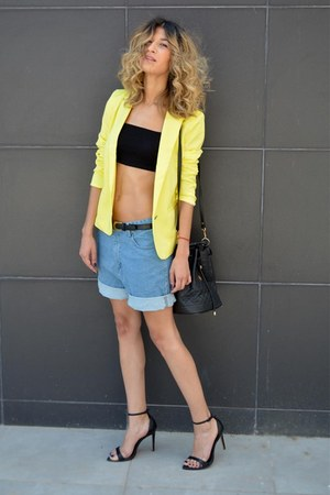 yellow AHAISHOPPING blazer - denim chicnova shorts - black asos top