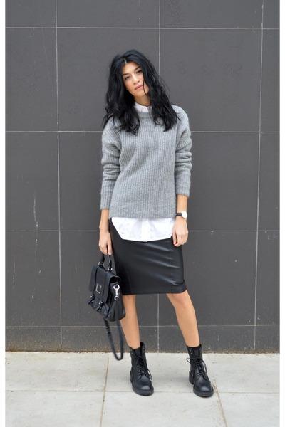 grey Zara sweater - lace up boots ASH boots - long gestuz shirt