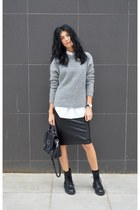 grey Zara sweater - lace up boots ASH boots - long gestuz shirt
