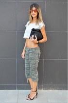 lunch Zara bag - mirrored Zara sunglasses - camouflage Bershka pants