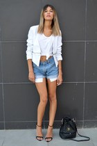 white Sheinside blazer - leather Chanel bag - denim Levis shorts