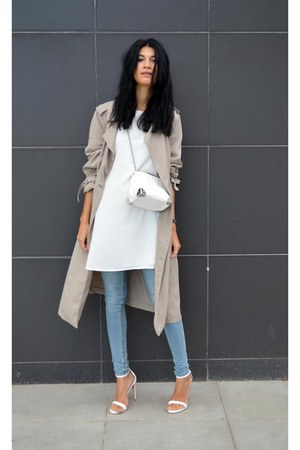 white Sheinsidecom dress - trench coat Zara coat - mini Zara bag