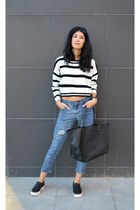 distressed Choies jeans - cropped Choies sweater - slip on ASH sneakers