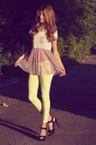purple blouse - black asos heels - yellow Bershka pants