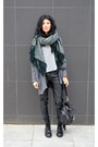 Lace-up-boots-ash-boots-oversized-asos-scarf-faux-leather-mango-pants