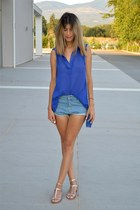 denim Sheinside shorts - blue chicnova blouse