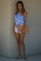 clutch Zara bag - white Bershka shorts - glitter Zign flats