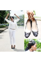 sequined Zara shoes - sequined Zara blazer - cotton Zara pants