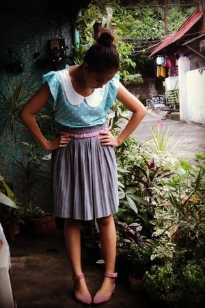 light blue Tokyo Fashion Co blouse - heather gray pleated thrifted skirt