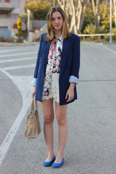 eggshell OASAP shorts - blue milanoo blazer