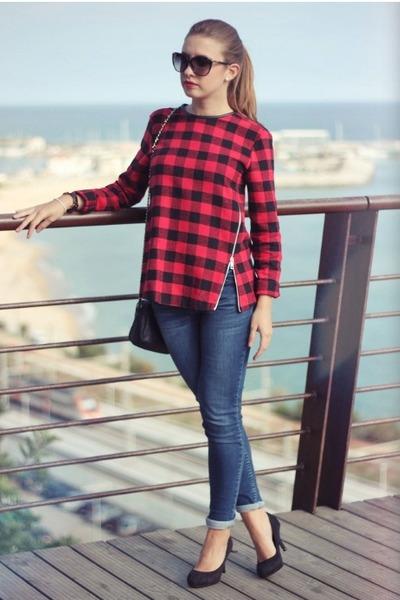 brick red Zara top