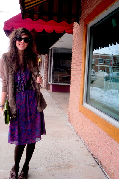 purple dress - brown vest - brown tights - brown cardigan