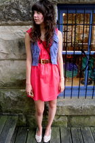 pink walmart dress - white shoes - blue vest - brown belt