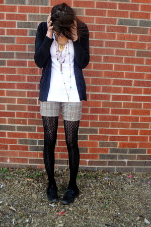 black Forever 21 cardigan - brown shorts - white shirt