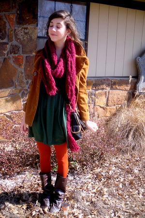 orange tights - brown boots - green dress