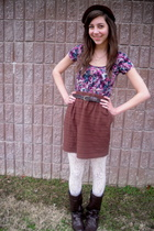 brown hat - brown skirt - brown boots