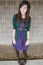 Brown-tights-brown-shoes-purple-dress-green-cardigan