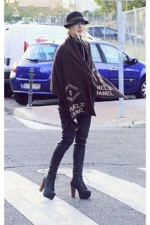 vintage cape - Jeffrey Campbell boots - H&M pants